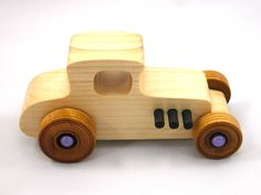 Wooden Toy Car - Hot Rod Freaky Ford - 1927 Ford Coupe - Model-T - Satin Polyurethane - Amber Shellac - Purple - Black - Pine Making Wooden Toys, Handmade Wooden Toys, Wooden Toy Cars, Wood Toys, Toys For Boys, Kids Toys, Ford, Educational Toys, Baby Toys