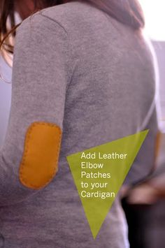 DIY clothes DIY Refashion DIY Sew Leather Elbow Patches onto your Cardigan and Sweater