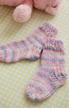Happy Toes Baby Socks Free Knitting Pattern from Red Heart Yarns