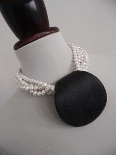 . GERDA LYNGGAARD MONIES . Pearls Wood Runway Denmark Necklace Huge Pendant #GERDALYNGGAARDMONIES