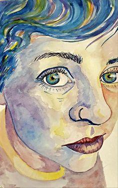 Expressive Watercolor Self Portrait by Savannah Pelley - Conway High School Art Project