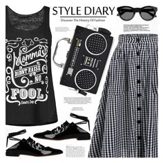 """Tartan Print Pockets Button Up Midi Skirt"" by katjuncica ❤ liked on Polyvore featuring Givenchy, xO Design, tanktop, blackandwhite, midiskirt, graphicprint and tartanprint"