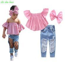Infant Kids Baby Girl Lace Off Shoulder Tops T-shirt Crop Pants Outfits Sunsuit