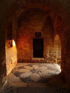 Malaga, Spain: Moorish Pebble Mosaic in the Puerta de Torre Cristo