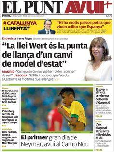 Los Titulares y Portadas de Noticias Destacadas Españolas del 3 de Junio de 2013 del Diario El Punt Avui ¿Que le parecio esta Portada de este Diario Español?