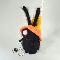 Halloween black bunny in Candy Corn hat and spider - Hand-knitted bunny Toy Halloween Amigurumi bunny Miniature Dolls Halloween decor Plush by MiracleStore on Etsy