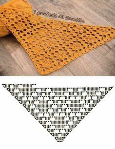 Crochet pattern for the triangular shawl Phlegethon - Version 2 - symmetrical . - Crochet pattern for the triangular scarf phlegethon – version 2 – symmetrical scarf – pattern - Poncho Crochet, Crochet Shawl Diagram, Crochet Chart, Filet Crochet, Crochet Scarves, Crochet Motif, Crochet Clothes, Thread Crochet, Shawl Patterns