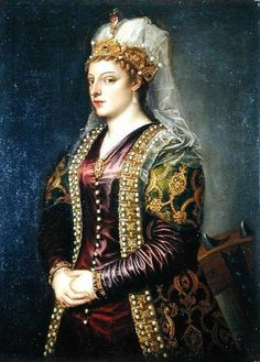 "1454-1510 Tizian (aka Tiziano Vercellio) ""Portrait of Caterina Cornaro wife of King James II of Cyprus, dressed as St. Catherine"".  More proof of the tradition of royalty being painted as saints and diety."