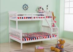 Being highly practical and effective as well as being luxuriously comfortable and stylish, this Triple Sleeper has a modern feel offering superb sleeping space. The Smooth Pine Wood Triple Sleeper Bunk Bed is a fantastic space-saving solution for smaller rooms or for larger families. Finished in smooth pine, this triple sleeper includes a sprung-slatted base.The upper bed is surrounded with substantial guard rails.