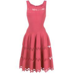 Alaïa zig-zag hem flared dress (€2.850) ❤ liked on Polyvore featuring dresses, pink, pink dress, flare dress, zigzag dress, alaia dress and alaïa
