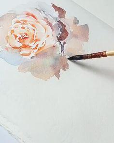 Watercolor Art Lessons, Watercolor Paintings For Beginners, Watercolor Landscape Paintings, Watercolor Flowers Tutorial, Floral Watercolor, Watercolor Tutorials, Easy Canvas Art, Art Drawings, Watercolour Drawings