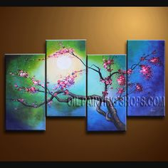 beautiful oil paintings on canvas. It is very nicely done oil painting Plum Blossom in Contemporary style. This painting is painted with great skill, masterful brush strokes by our talented artist. Large Wall Art, Canvas Wall Art, Oil Painting Abstract, Acrylic Paintings, Acrylic Art, Contemporary Wall Art, Art And Architecture, Art Floral, Plum