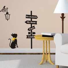 Cheap decorative tile stickers, Buy Quality stickers penguin directly from China decorative wall art stickers Suppliers: Black cat under the lamp birds wall stickers London Paris My Room Signs Decals Children's Room Wall Mural Home Decor Ro