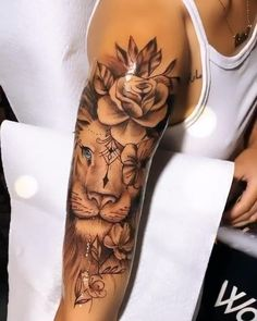 Arm Sleeve Tattoos For Women, Dope Tattoos For Women, Simple Tattoos For Women, Shoulder Tattoos For Women, Arm Tattoos For Girls, Thigh Tattoos For Women, Female Tattoo Sleeve, Women Sleeve, Hip Thigh Tattoos