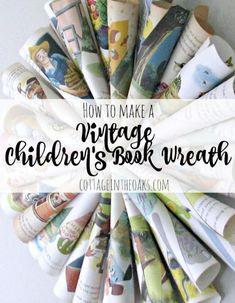 How to make a vintage children's book wreath #diy