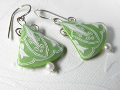 Peridot Spring Green Polymer Clay Triangle Dangle by DedeLeupold, $36.00