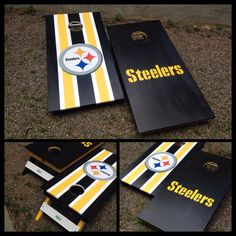 A Pittsburgh Steelers set of Cornhole boards! Made by BKL Boards. www.bklboards.com