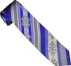 Steven Land Collection SL052 Royal Blue / Silver Grey Diagonal Striped Italian Design With Swvorski Crystals 100% Woven Silk Necktie/Hanky Set