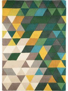 Wollteppich Rainbow Multicolor/Grün 120x170 cm