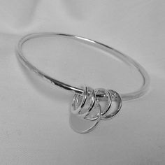 Sterling silver bangle, Personalised silver bangle, Silver bangle with charm, silver jewellery, Silver Coast Jewellery, stacking silver bangle