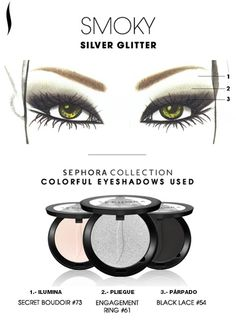 Obtén el look: Smoky Silver Glitter. #SephoraColorfulMx