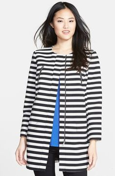 Free shipping and returns on Halogen® Stripe Collarless Topper (Regular & Petite) at Nordstrom.com. Black-and-white stripes put a fresh graphic spin on a cotton-blend canvas topper fashioned with a hidden-zip placket.