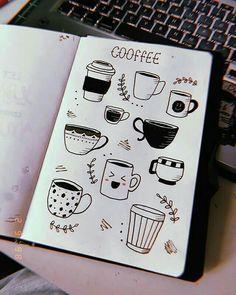 Um caFÉ zu nehmen, versäume caFÉ normalerweise nicht das Zeichnen, ultimame A Lápiz De Tareas Creativa ? Bullet Journal 2019, Bullet Journal Notebook, Bullet Journal Ideas Pages, Bullet Journal Inspiration, Doodle Drawings, Easy Drawings, Cute Little Drawings, Coffee Doodle, Coffee Mug Drawing