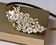 Headband made with vintage jewelry