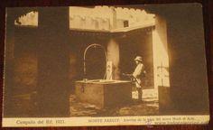 ANTIGUA POSTAL DE LA CAMPAÑA DEL RIF - 1921 - MONTE ARRUIT, INTERIOR DE LA CASA DEL MORO HACH EL ARB