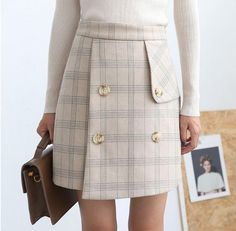Korean Fashion - Double-breasted plaid high waist short skirt