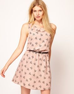 Oasis Bumblebee Print Fit And Flare Dress