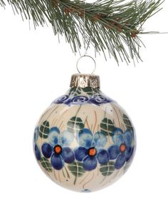 Blue Floral Ornament by Lidia's Polish Pottery
