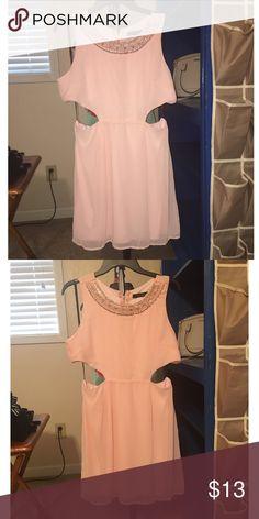 Blush pink cutout dress Cute cutout with beaded neckline. Never worn. Dresses Strapless