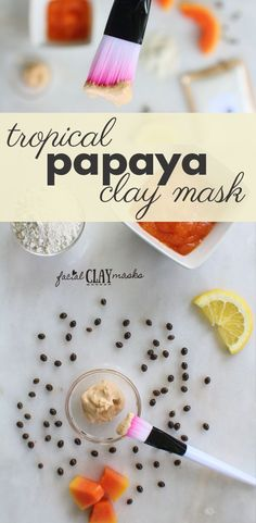 Take me to the beach! If you can't go to the tropical beaches then settle for a vibrant papaya face mask at your next girls spa night.  Colorful papaya blended with brightening lemon and moisturizing coconut all mixed with fluffy kaolin clay for the perfect tropical face mask.  Read more for the benefits for radiant skin.   #kaolin #clay #facemask #mask #papaya #papayafacemask #tropical #tropicalskincare #diy #skin #face
