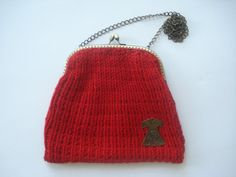 Red Hand Knitted Wool Purse With Caftan by nilknitting on Etsy