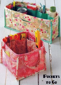 Pockets To Go Organizer-Schnittmuster von Atkinson Designs - Diy Stoffkorb Sewing Hacks, Sewing Tutorials, Sewing Crafts, Sewing Tips, Sewing Ideas, Bag Tutorials, Leftover Fabric, Love Sewing, Sewing Projects For Beginners