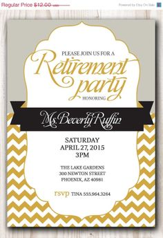 Nice retirement party invitation wording invitations card by on sale retirement party invitation gold and by scripturewallart 1080 filmwisefo