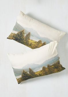 Peaks Your Interest Pillowcase Set - Multi, Other Print, Dorm Decor, Statement, Travel, Green, White