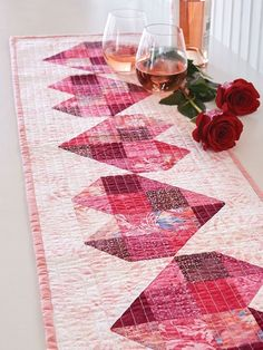 "Here's My Heart quilt, 12 x 44"",  pattern by Deb Finan 