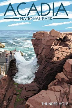 I love vintage style travel posters. Thunder Hole at Maines Acadia National Park is an amazing place to experience natures power. This poster was created by Nightingale Artwork.