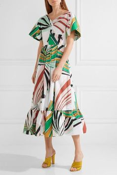 Emilio Pucci - Pleated Printed Stretch-cotton Poplin Midi Dress - Green - IT42