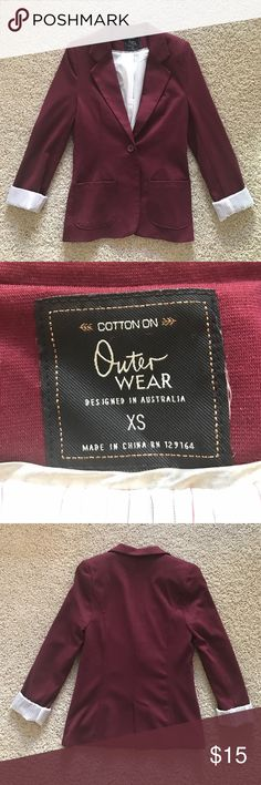 Three quarter sleeve MAROON blazer Such a fun piece to add into your wardrobe! Staple item & must have light weight blazer Cotton On Jackets & Coats Blazers