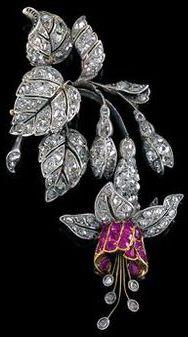 Art Nouveau - Pendentif 'Fuchsia' - Diamants et Rubis - Vers 1900