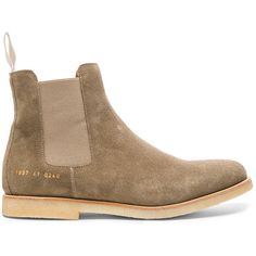 Common Projects Suede Chelsea Boots ($365) ❤ liked on Polyvore featuring men's fashion, men's shoes, men's boots, boots, mens suede boots, mens suede chelsea boots and mens suede shoes
