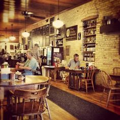 Daily Grind in Marshfield WI Perfect coffee- shop brick walls mismatched tables n chairs - best coffee in town Mismatched Chairs, Coffee Places, Our Town, Brick Walls, Great Restaurants, Best Coffee, Wisconsin, Coffee Shop, Liquor Cabinet
