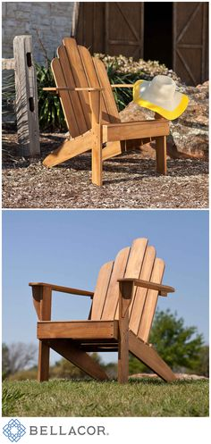 Take a moment to unwind in this beautiful take on the classic outdoor seat. This elegant and comfortable Adirondack chair is a masterpiece of outdoor furniture.