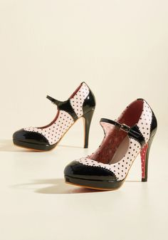 Shake It Personally Heel by Banned - White, Black, Polka Dots, Special Occasion, Prom, Wedding, Party, Cocktail, Girls Night Out, Holiday, Holiday Party, Graduation, Bridesmaid, Homecoming, Wedding Guest, Pinup, Vintage Inspired, Spring, Summer, Fall, Winter, High, Faux Leather, Better, Platform, Mary Jane, Stilettos, Black, White