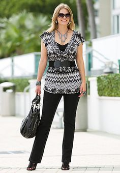 belted layered top with black jeans