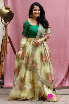 Floral lehenga ideas for summer wedding inspiration. A pastel hued bridal lehenga will be perfect for your summer wedding. Party Wear Indian Dresses, Indian Gowns Dresses, Indian Bridal Outfits, Indian Fashion Dresses, Dress Indian Style, Indian Designer Outfits, Designer Dresses, Long Gown Dress, Lehnga Dress