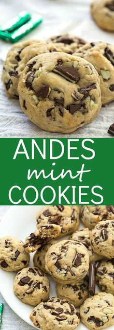 Andes Mint Cookies – Soft-baked and chewy! The perfect cookies for Christmas and… Andes Mint Cookies – Soft-baked and chewy! The perfect cookies for Christmas and perfect for gifting cookies in a jar for the holidays! Köstliche Desserts, Holiday Desserts, Holiday Baking, Holiday Recipes, Delicious Desserts, Dessert Recipes, Yummy Food, Holiday Gifts, Christmas Recipes